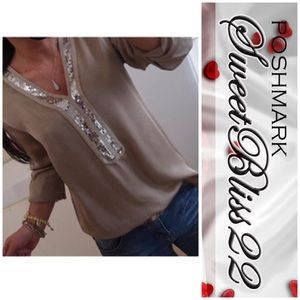 💋Chiffon with Sequins Top💋